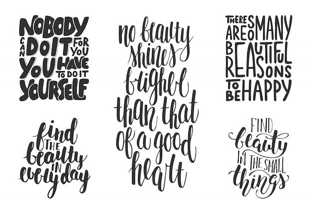 Conjunto de tipografía motivacional e inspiradora.