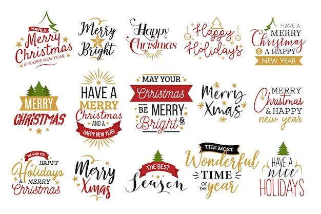 Conjunto de tipografía de navidad
