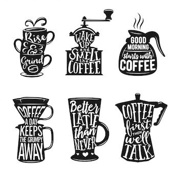 Conjunto de tipografía relacionada con café. ilustraciones de vectores de la vendimia.