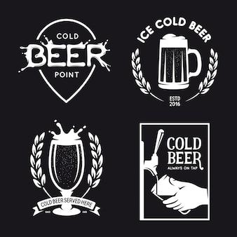 Conjunto de tipografía relacionada con la cerveza. vector ilustración de letras vintage.