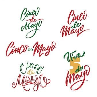 Conjunto tipográfico del cinco de mayo. 5 de mayo en caligrafía vectorial de vacaciones española.