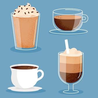 Conjunto de tipos de cafe