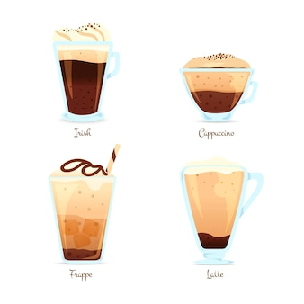 Conjunto de tipos de café
