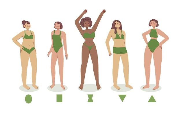 Conjunto de tipos dibujados a mano de formas de cuerpo femenino