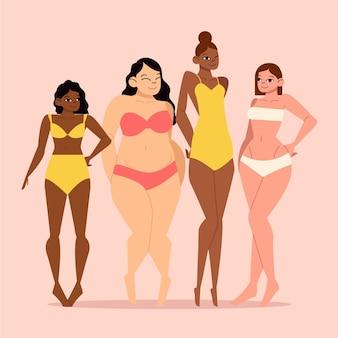 Conjunto de tipos planos de formas de cuerpo femenino.