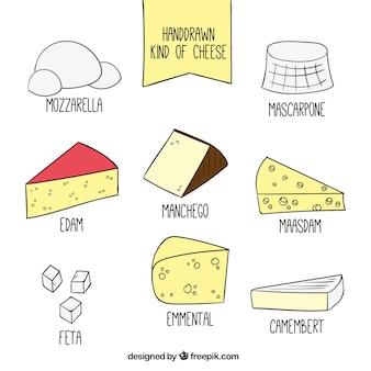 Conjunto de tipos de queso dibujados a mano