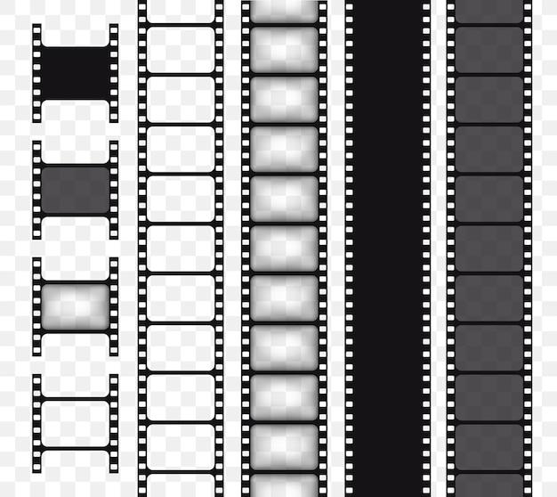 Conjunto de tira de película de vector aislado en la ilustración de vector de cinta de película de fondo transparente