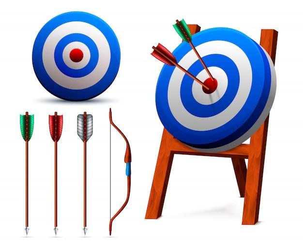 Conjunto de tiro con arco de objetivos realistas