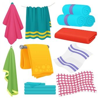 Conjunto de toallas dobladas de dibujos animados lindo.