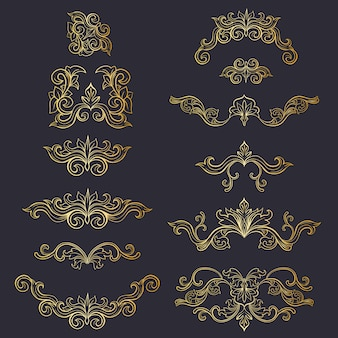Conjunto de tocado aislado decoración floral o adornos dorados