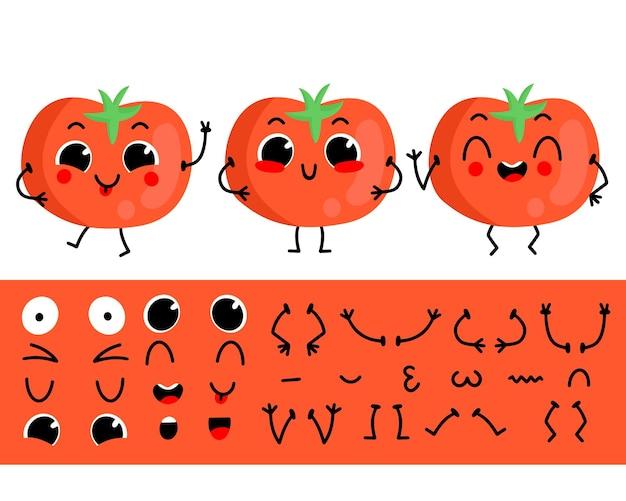 Conjunto de tomate para crear un personaje de dibujos animados divertido ilustración de vector de constructor de personaje de tomate