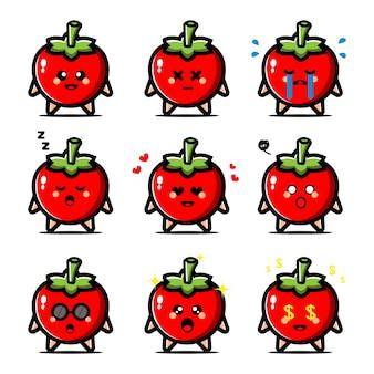 Conjunto de tomate lindo con personaje de dibujos animados de expresión