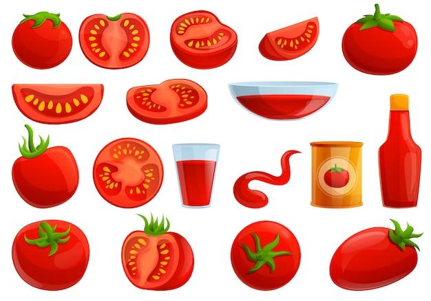 Conjunto de tomates, estilo de dibujos animados