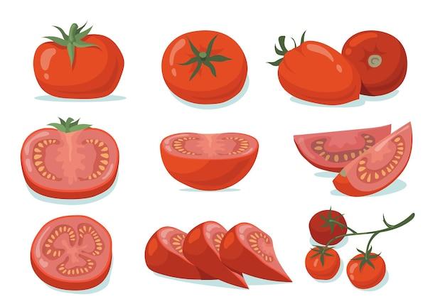 Conjunto de tomates frescos