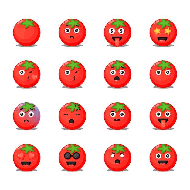 Conjunto de tomates lindos con emoticonos