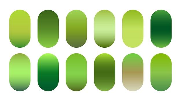 Conjunto de tonos degradados verdes ecológicos de la naturaleza