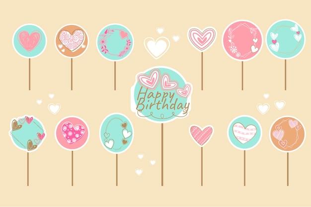 Conjunto de topers de pastel de cumpleaños