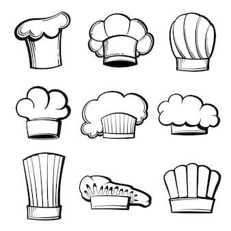 Conjunto de toques y gorros de chef de contorno