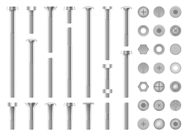 Conjunto de tornillos metálicos, tuercas, pernos de acero y clavos aislados