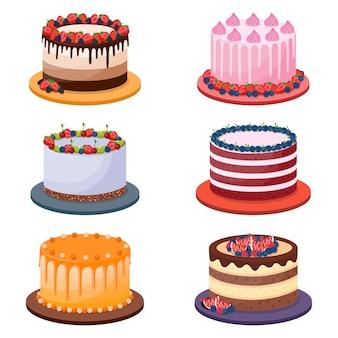 Conjunto de tortas de cumpleaños sobre fondo blanco, ilustración vectorial