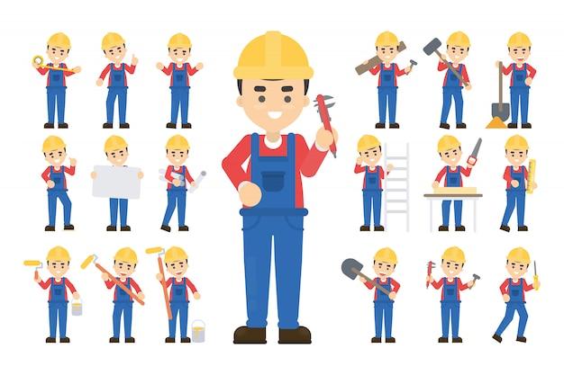 Conjunto de trabajador de la construcción. posando y haciendo trabajo.