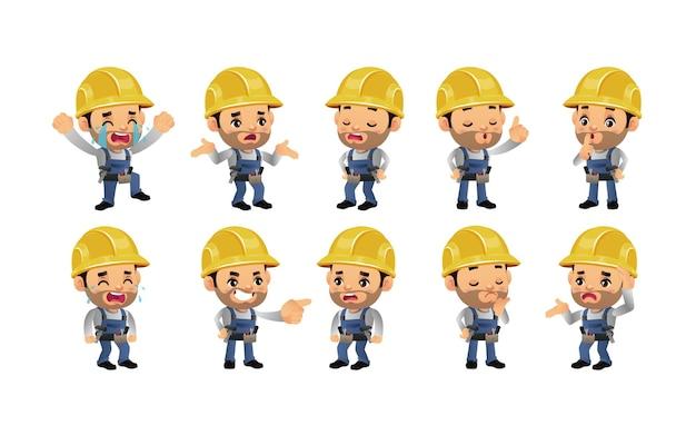 Conjunto de trabajador con diferentes emociones.
