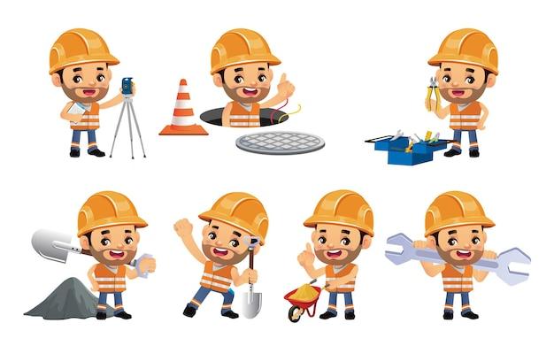 Conjunto de trabajador con diferentes poses.
