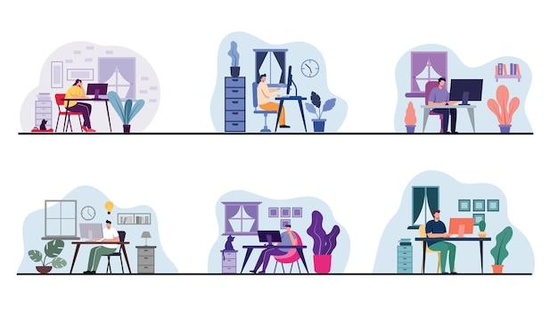 Conjunto de trabajador joven que usa computadora de escritorio o computadora portátil para trabajar en la oficina o trabajar en casa en personaje de dibujos animados, ilustración plana
