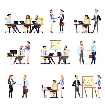 Conjunto de trabajador de oficina. colección de empresarios