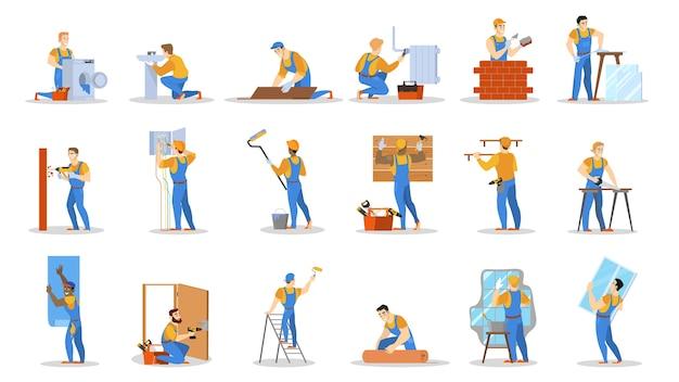 Conjunto de trabajador de reparación de viviendas. colección de personas