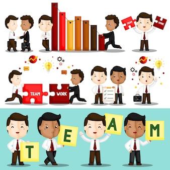 Conjunto de trabajador de trabajo en equipo