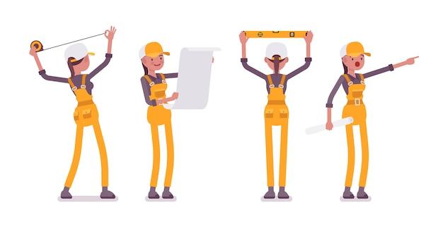 Conjunto de trabajadora en amarillo general haciendo medición y planificación