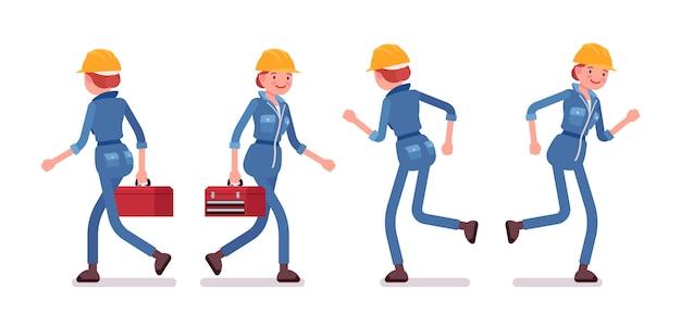 Conjunto de trabajadora caminando y corriendo, vista trasera y frontal