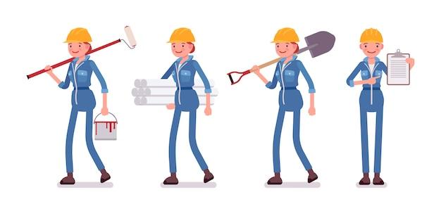 Conjunto de trabajadora con diferentes herramientas