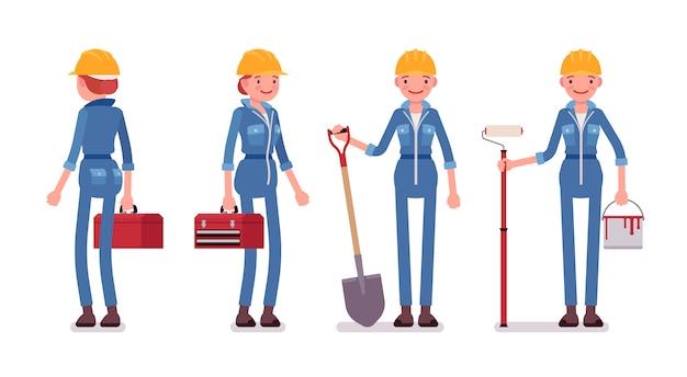 Conjunto de trabajadora con herramientas, vista trasera y frontal