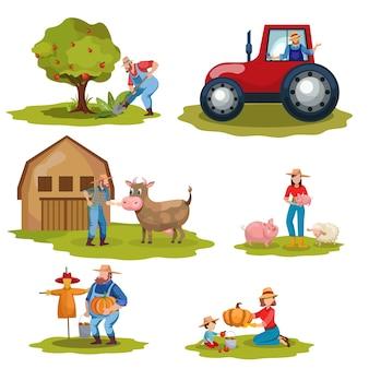 Conjunto de trabajadores agrícolas lácteos y ganaderos.
