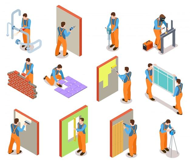 Conjunto de trabajadores de construcción isométrica