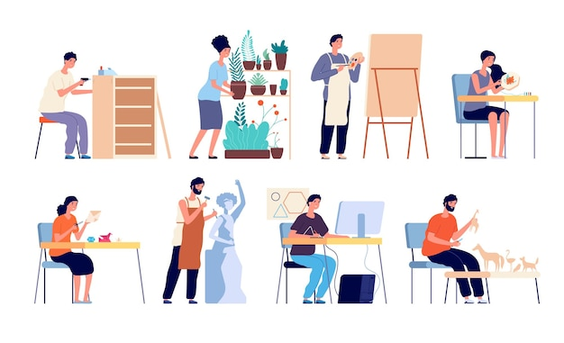 Conjunto de trabajadores creativos