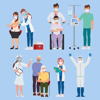 Conjunto de trabajadores hospitalarios con tratamiento covid19.