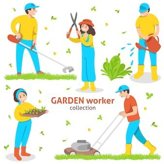 Conjunto de trabajadores de jardinería con herramientas y equipos de jardinería.
