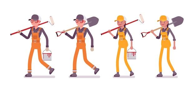 Conjunto de trabajadores masculinos y femeninos caminando con herramientas, brillante en general
