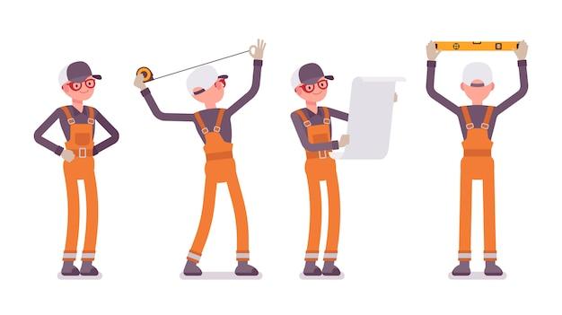 Conjunto de trabajadores masculinos en naranja en general haciendo mediciones y planificación