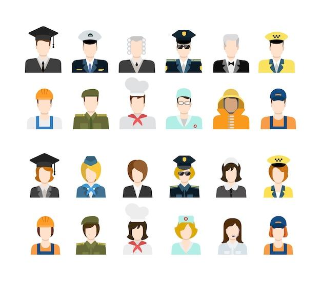 Conjunto de trabajadores de personas en iconos uniformes en estilo plano
