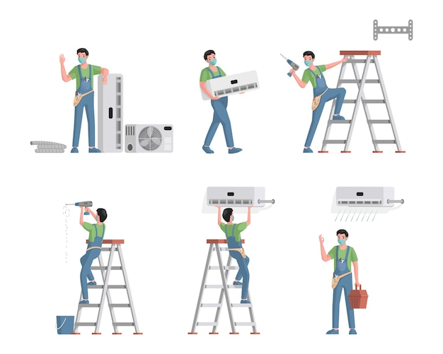 Conjunto de trabajadores de servicio de instalación y reparación de aires acondicionados. personajes masculinos jóvenes instalando, reparando sistemas de refrigeración, limpiando y reemplazando filtros de aire ilustración plana.