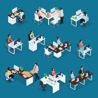 Conjunto de trabajadores de soporte profesional isométrico