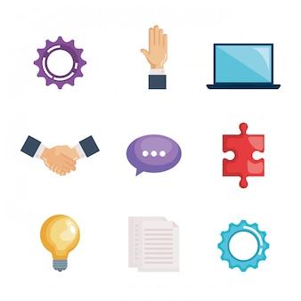 Conjunto de trabajo en equipo empresarial