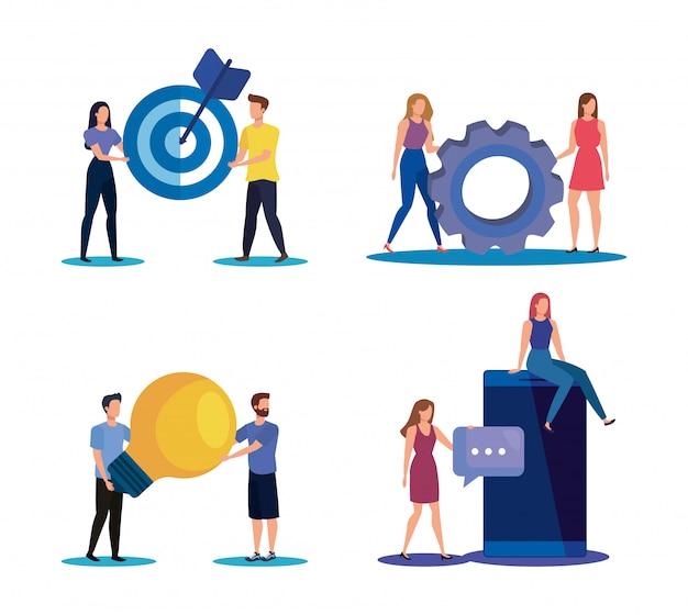 Conjunto de trabajo en equipo de hombres y mujeres con iconos de negocios