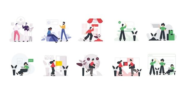 Conjunto de trabajo en equipo moderno concepto de diseño plano.