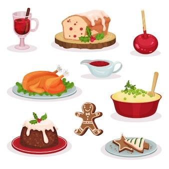Conjunto tradicional de comida y postres navideños, vino caliente, pastel de frutas, manzana acaramelada, pavo asado, puré de papa, pudín, galletas de jengibre ilustración