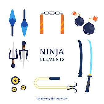 Conjunto tradicional de elementos de ninja con diseño plano